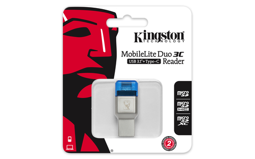 Kingston MobileLite Duo 3C Kartenleser - USB-Typ C, USB Typ-A - Extern - microSD, microSDHC, microSDXC, TransFlash