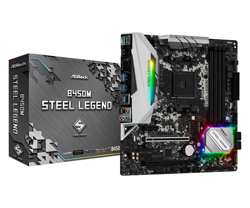 Asrock B450M Steel Legend. Fabricant de processeur: AMD, Socket de processeur (réceptable de processeur): Emplacement AM4,