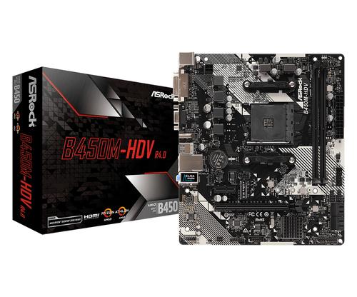 Asrock B450M-HDV R4.0. Fabricant de processeur: AMD, Socket de processeur (réceptable de processeur): Emplacement AM4, Pro