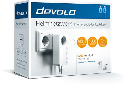 devolo LAN Komfort Starterset, 9778 Ethernet-Karte - 2 x Netzwerk (RJ-45) - 500 Mbit/s Stromleitung - 400 m Reichweite unt