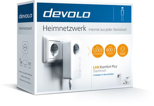 devolo LAN Komfort Plus Starterset, Powerline Netzwerkadapter - 2 - 1 x Netzwerk (RJ-45) - 1200 Mbit/s Stromleitung - 400