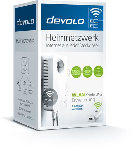 devolo WLAN Komfort Plus Erweiterung, Powerline Netzwerkadapter - 1 - 1 x Netzwerk (RJ-45) - 1200 Mbit/s Stromleitung - 40