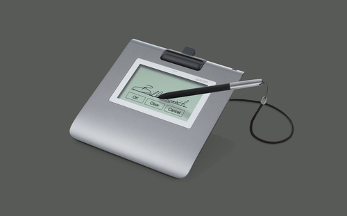 Wacom STU-430. Diagonal: 11,4 cm (4.5 Zoll), Systemeigen Auflösung: 320 x 200 Pixel, Arbeitsbereich: 96 x 60 mm. Produktfa